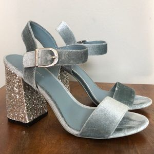 H&M velvet and glitter block heel sandal